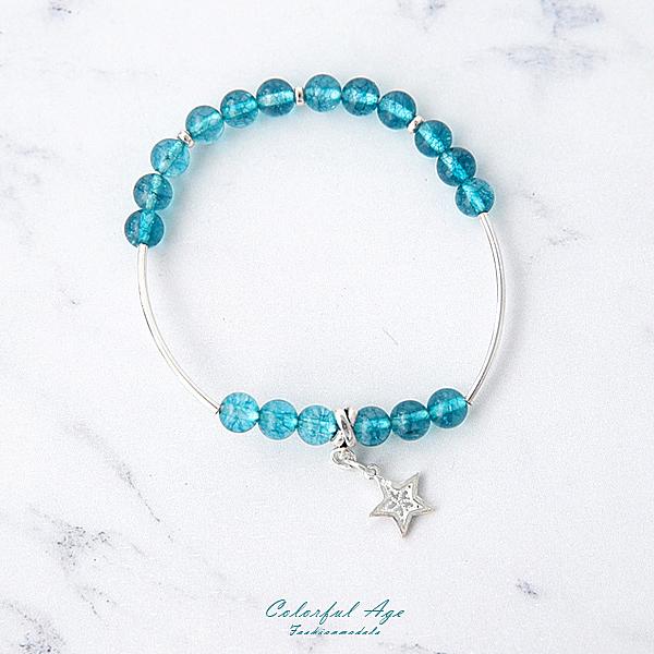 925純銀孔雀藍晶石銀管手環【NPEA7】抗過敏