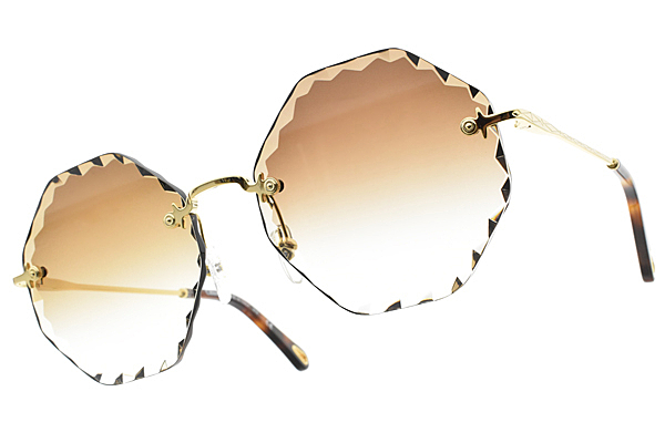 CHLOE 太陽眼鏡 多角小花邊款/金-漸層棕  CE143S- 742