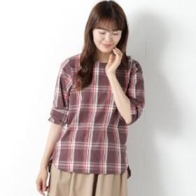 春の人気商品綿素材の袖リボンブラウス(5分袖)