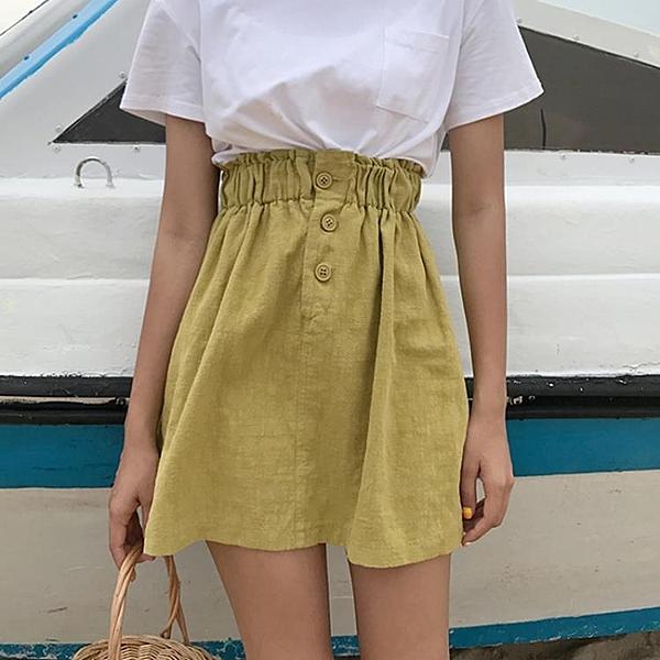 [超豐國際]松緊腰顯瘦三粒扣麻棉半身裙夏季女裝學院風純色百搭1入