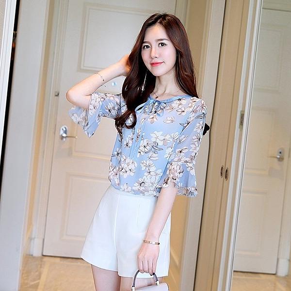 FINDSENSE G5 韓國時尚 新款 寬鬆 荷葉邊 碎花 喇叭袖 雪紡衫 舒