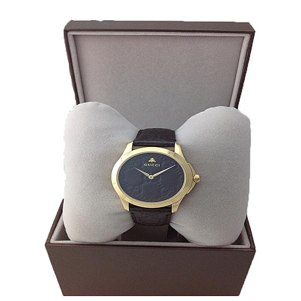 Gucci古馳 G-Timeless Signature 蜜蜂YA126581女錶-黑28mm 黑金款雙LOGO