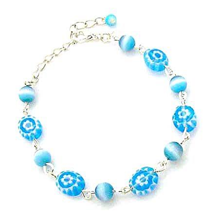 土耳其藍貓眼珠與琉璃扁珠手鍊