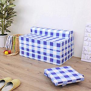 【頂堅】四折式沙發床/沙發椅-坐高40床長200/公分(藍白方格)藍白方格