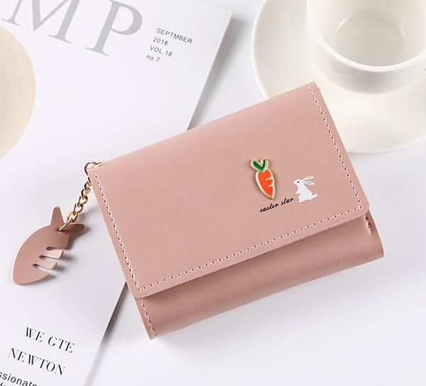 短款皮夾 零錢包少女士短款2020新款學生小清新折疊可愛多功能韓版錢夾皮夾