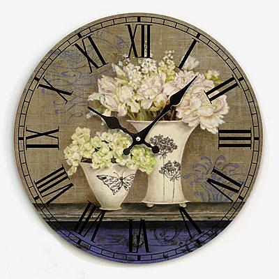 復古靜音鐘錶 時尚花卉2