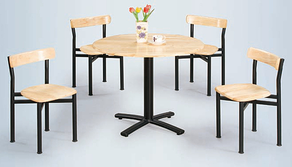 【 IS空間美學】2.5尺圓實木十字腳餐桌+貝勒實木餐椅(一桌四椅)