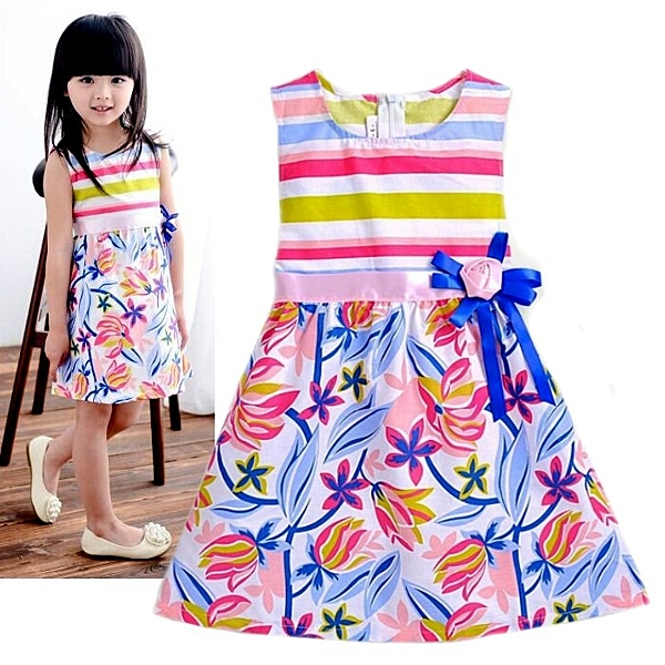 夏日《彩虹花朵款》甜美小洋裝