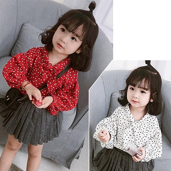 女童燈籠袖長袖襯衫 兒童襯衫女小童迷你圓點襯衫