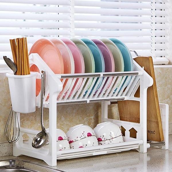 瀝水架 雙層放碗盤碟架廚房用品置物架餐具收納瀝水碗架碗柜滴水塑料兩層 - 古梵希