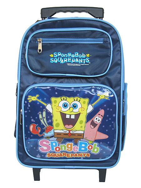 【卡漫城】 海綿寶寶 拉桿 後背包 藍 ㊣版 SpongeBob 派大星 兒童 背包 書包 旅行箱 拉桿式