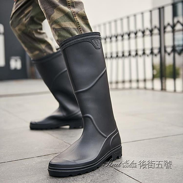 雨鞋男士高筒勞保工作成人大碼水靴釣魚休閒時尚韓版防水長筒雨靴 後街五號
