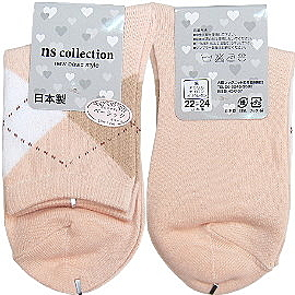 【波克貓哈日網】日本製淑女襪◇ns collection◇《菱格紋粉橘色》