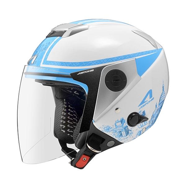 【東門城】ASTONE RS T56 (白藍) 半罩式安全帽 內藏式墨片