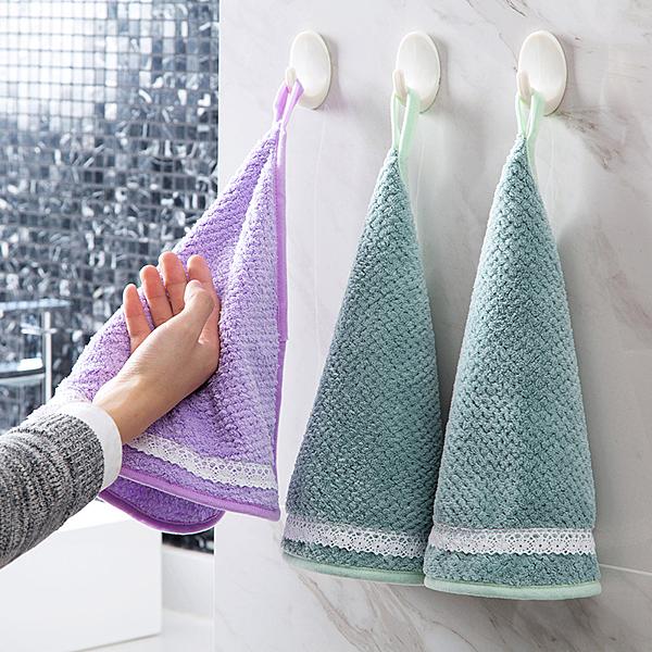 素色掛式擦手巾珊瑚絨洗碗巾廚房加厚吸水清潔布抹布洗碗布─預購CH5552