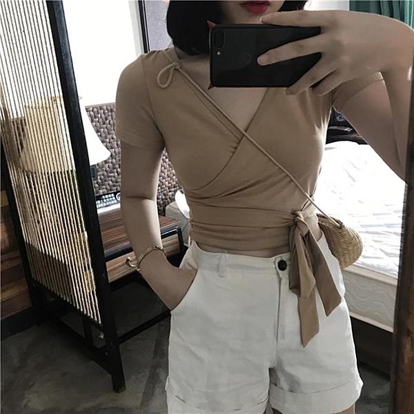 [超豐國際]chic氣質V領交叉設計修身純色百搭個性系帶短袖1入