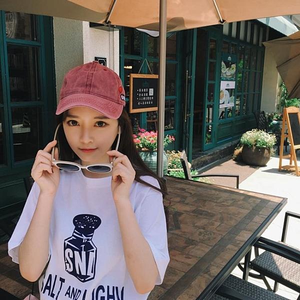 [超豐國際]夏季原宿風寬松字母印花短袖T恤女基礎款簡約學生上1入