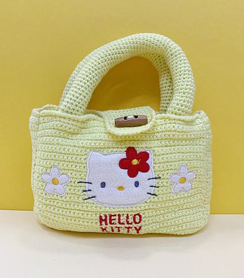 【震撼精品百貨】Hello Kitty 凱蒂貓~kitty 編織手提袋/收納袋-黃#79201