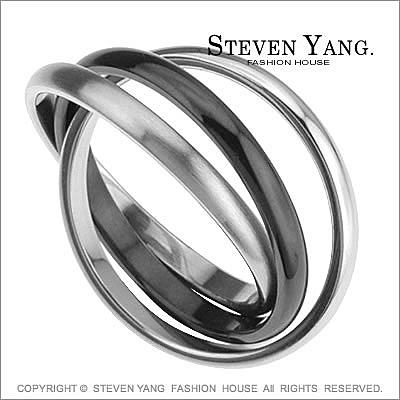 戒指 西德鋼飾 三環酷黑鋼 時尚個性款 可做項鍊尾戒