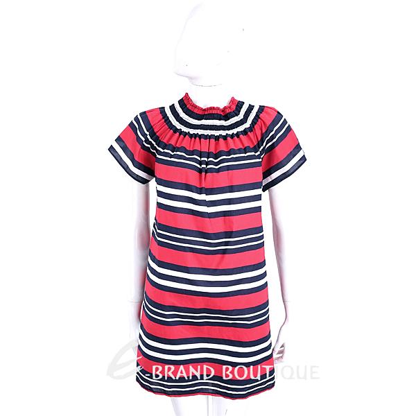 BLUGIRL-FOLIES 紅x藍x白鬆緊領設計條紋短袖洋裝 1720343-54
