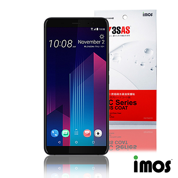 iMos 3SAS HTC U11 Plus 非滿版超抗潑水疏油效果保護貼