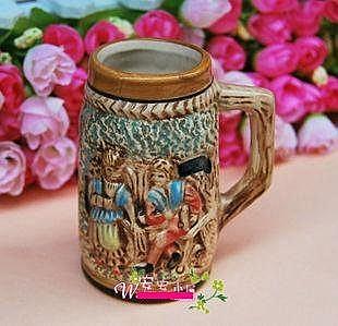 迷你德國版杯子 小 歐式 創意浮雕陶瓷杯子 居家