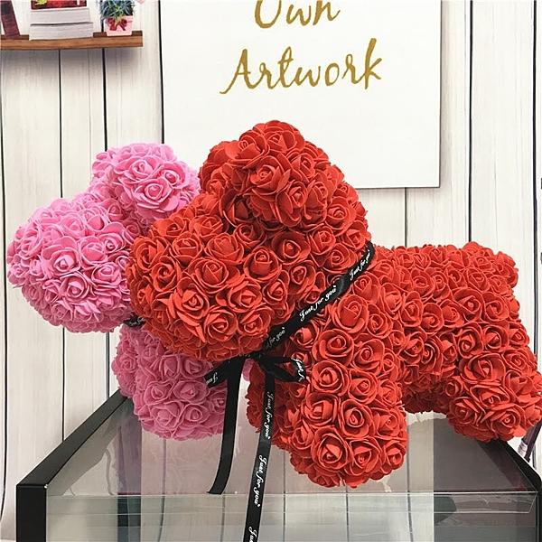 創意PE花仿真玫瑰,手工製作,玫瑰Lucky狗不含禮盒,19種顏色 (訂製需3-5天出貨,請先詢問再下單)
