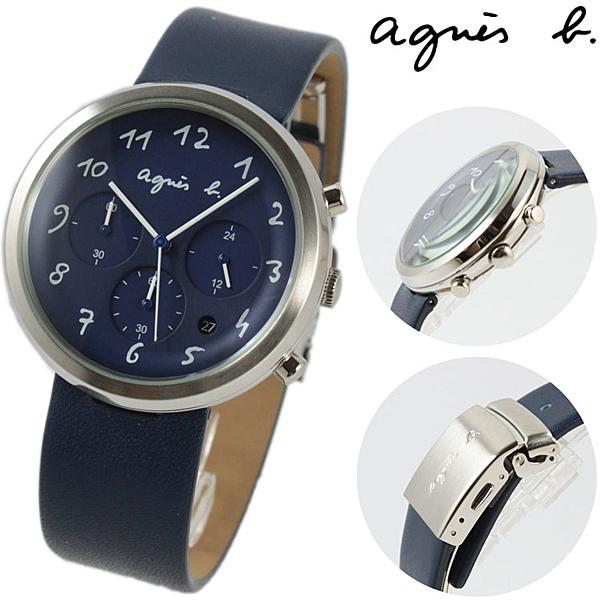 【萬年鐘錶】agnes b. 法式簡約時尚風 三眼計時腕錶 藍皮帶 銀殼 藍面 白字  40mm VD53-KC30B(BT3025X1)