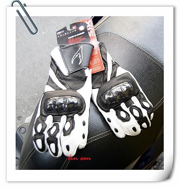SBK,SBC,SB-C,碳纖維長版防摔皮革手套,黑