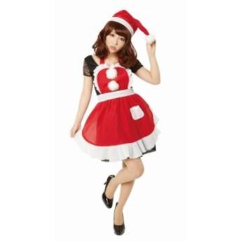 フリルクリスマスエプロン Ladies クリスマス コスプレ コスチューム 衣装 仮装 サンタクロース サンタレディース(代引不可)【送料無料】