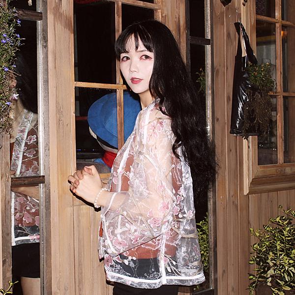 [超豐國際]夏季女裝日式和服原宿透視碎花防曬衣寬松短款開衫薄1入