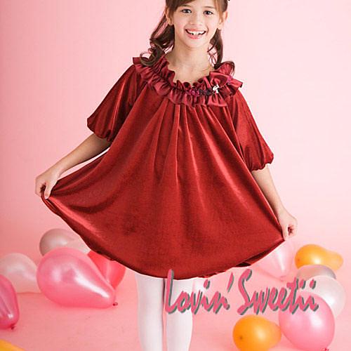 【Lovin' Sweetii】可愛甜心小公主袖童洋裝限量款-紅色