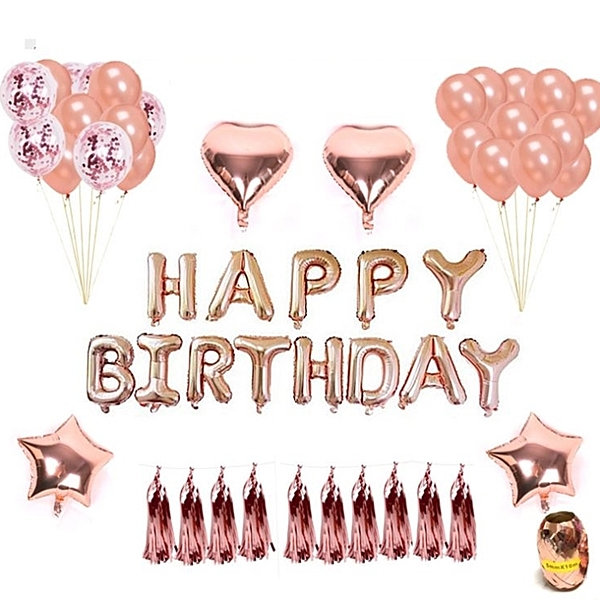[拉拉百貨]玫瑰金 生日裝飾 氣球 流蘇組 派對小物 生日 公司慶祝 派對活動