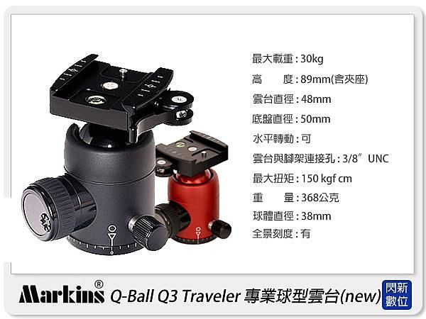 【分期0利率,免運費】Markins Q-Ball Q3 Traveler 快扣式 球型雲台(可搭GITZO/Manfrotto/Photo Clam/Rollei/Sirui)
