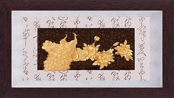 鹿港窯-居家開運立體金箔畫-彩金系列【花開富貴】
