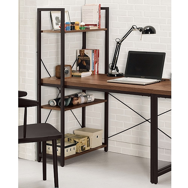 【森可家居】伯恩斯L型書桌 8CM869-3  含書架 工業風