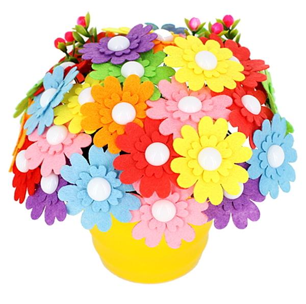兒童創意diy紐扣花束材料包 幼兒園手工製作彩色鈕子花母親節禮物(送彩盆紐扣花)─預購CH5057