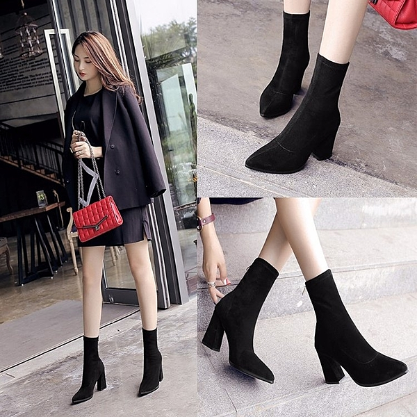 短靴女秋冬粗跟彈力靴女鞋高跟尖頭中筒靴英倫風馬丁靴雪靴子