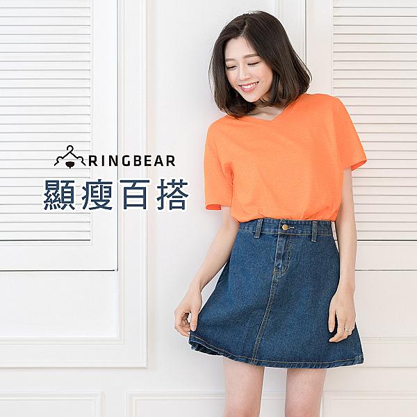 牛仔短裙--修身顯瘦百搭韓版流行時尚後口袋A字硬挺版型牛仔短裙(藍S-5L)-Q85眼圈熊中大尺碼