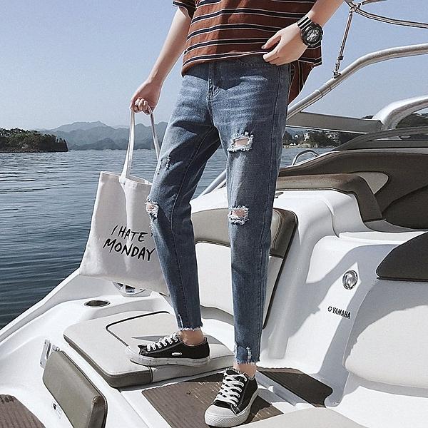 FINDSENSE H1 2018 夏季 牛仔褲  小腳牛仔褲 休閒褲 男 藍色