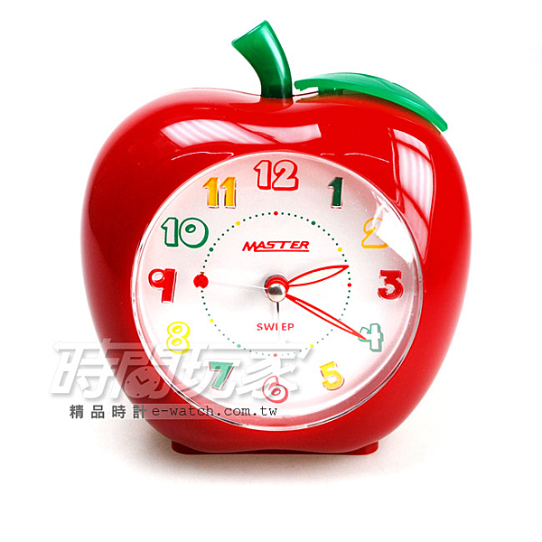 MASTER 台灣製LED強光數字面版 超靜音 和弦音樂 鬧鈴鬧鐘 JM-E611紅蘋果