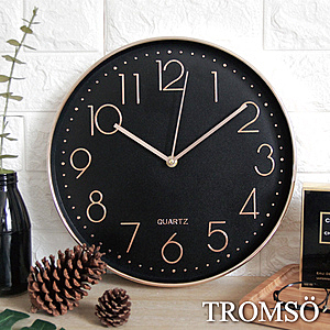 TROMSO紐約時代玫瑰金靜音時鐘時代數字黑