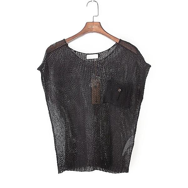 [超豐國際]U春夏裝女裝黑色鏤空百搭小性感針織衫 40804(1入)