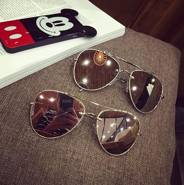 [超豐國際]歐美新款墨鏡女圓臉個性金屬大框太陽鏡炫彩飛行員蛤1入