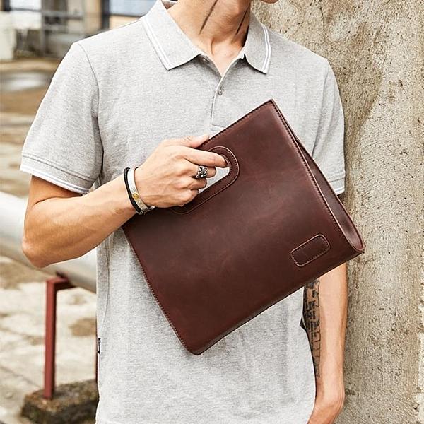 公事包 手提包 新款男士復古手提包 潮流男女士手拿包 時尚商務文件iPad包辦公包