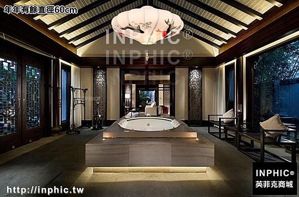 INPHIC-現代新中式臥室客廳餐廳手繪吊燈古典酒店茶樓過道走廊玄關布藝燈-年年有餘直徑60cm_S3081C