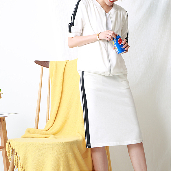 [超豐國際]W   時尚毫不費力 全棉 側邊條紋 外套 半身