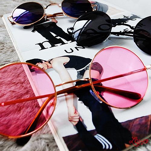 原宿復古細邊金屬圓框彩色鏡片太陽眼鏡  日韓 歐美 女款 三色