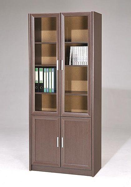 【 C . L 居家生活館 】M-4085A玻璃雙門書櫃(鐵刀木色)