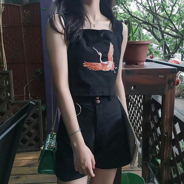 [超豐國際]夏季時尚休閑套裝女裝吊帶印花上衣 高腰闊腿短1入